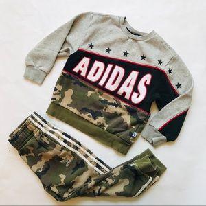 ADDIDAS Boy's Camo Sweatshirt/Jogger Tracksuit